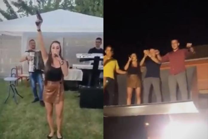 Пејачка на свадба прво пукаше со пиштол, па се качи на багер (видео)