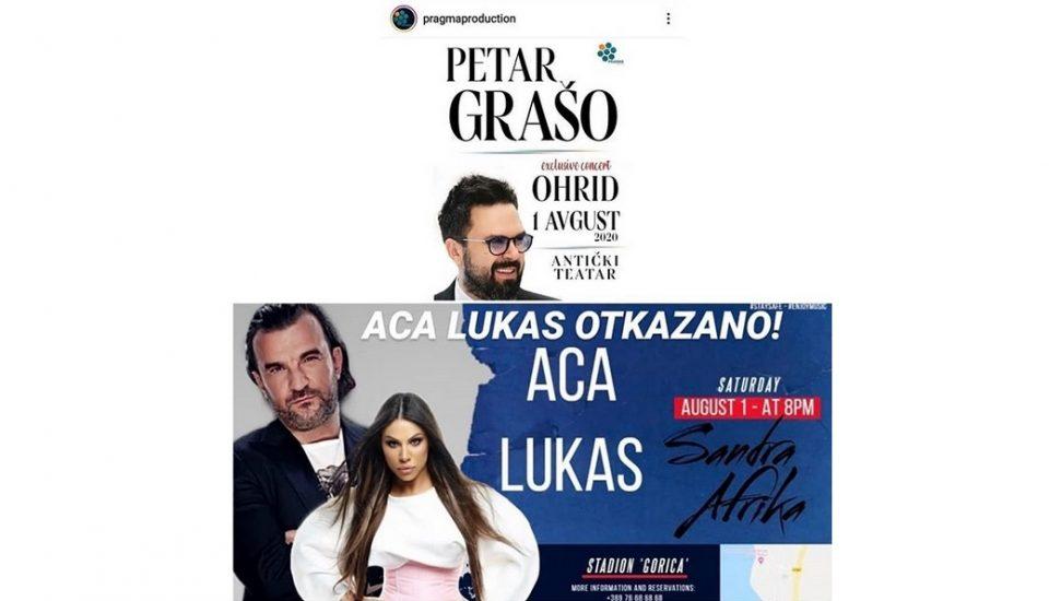 """Аца Лукас го откажа илинденскиот концерт во Охрид, па прозва дел од македонските медиуми и продукцијата која во ист ден организира концерт на Петар Грашо: """"Зошто мојот го ставивте во многу лош контекст, а концертот на уважениот колега никој не го спомна?"""""""