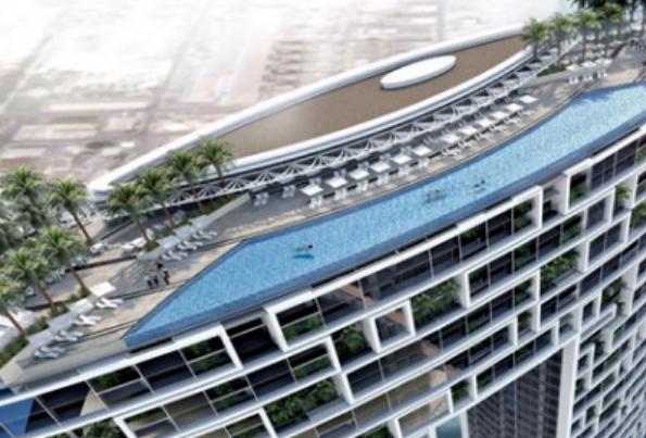 """Во Дубаи отворен највисокиот """"бескраен"""" базен на светот – сцени од кои ќе се импресионирате"""