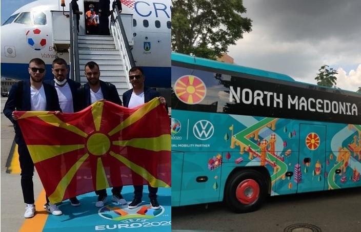 Фудбалерите пристигнаа во Букурешт: Развиорено македонско знаме на аеродромот и нашиот официјален автобус (ФОТО)
