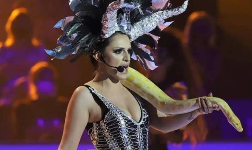 """Жирито се """"стаписа"""" кога ја виде со питон околу вратот: Maрија Груевска откри зошто се појави со змија во """"Ѕвездите на Гранд"""""""